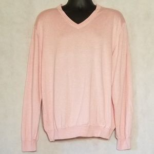 Brooks Brothers Supima Cotton Pink v neck sweater